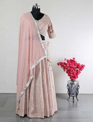 Peach raw silk lehenga choli for women