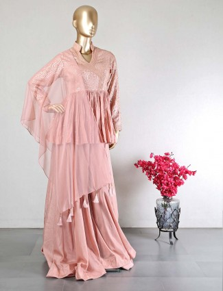 Peach raw silk palazzo suit for wedding