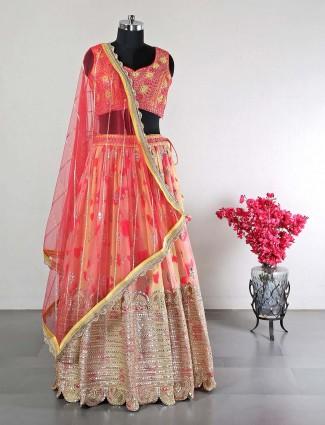 Peach raw silk wedding functions lehenga choli