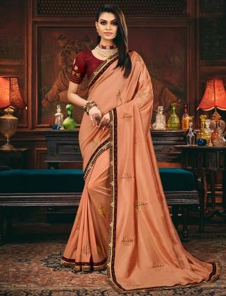 Peach satin silk for wedding function