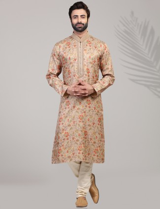 Peach silk printed festive wear kurta suit