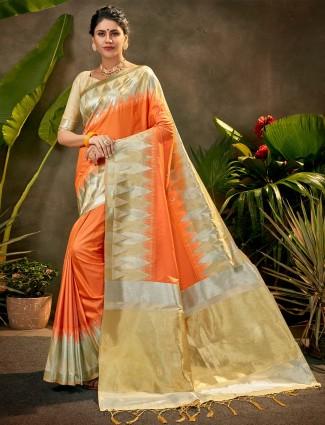 Peach silk saree for party fucntion