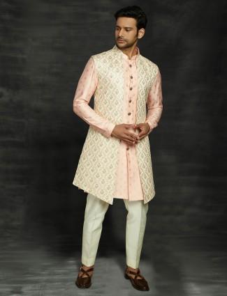 Peach silk wedding wear classic indo western