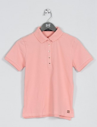 Peach solid t-shirt for casual look