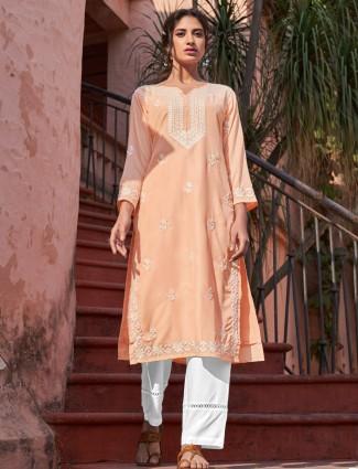 Peach straight kurta sets in cotton
