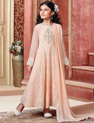 Peach thread inflated anarkali suit