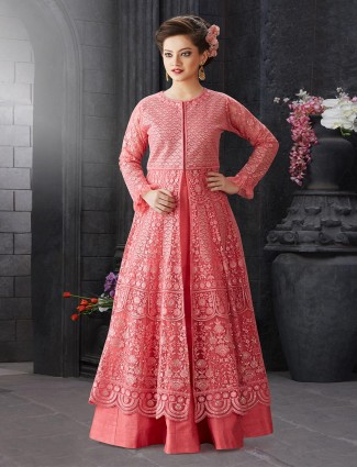 Peach thread woven indo western style lehenga choli