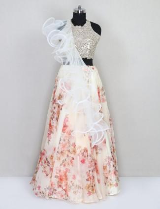 Peach tissue silk wedding lehenga choli