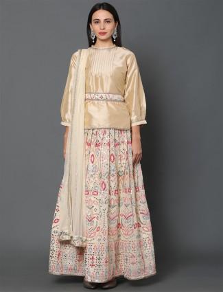 Peach wedding wear lehenga in dupion silk