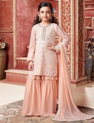 Peach wedding wear sharara suit