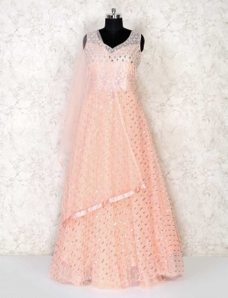 Peack colored party wear gown