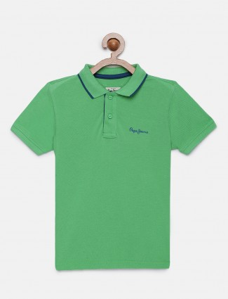 Pepe Jeans green cotton solid t-shirt