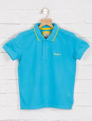 Pepe jeans solid blue casual polo t-shirt