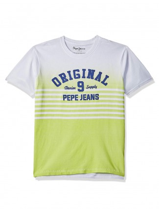 Pepe Jeans white and green printed t-shirt