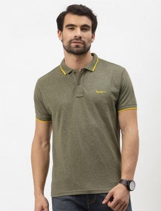 Pepe printed cotton casual wear t-shirt in olive