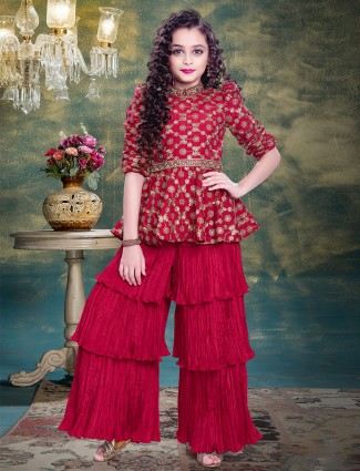 Peplum style sharara suit in Attractive Red tint