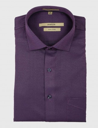 Pienza purple slim fit mens shirt