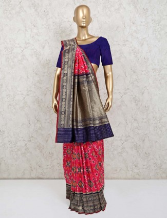 Pink and blue patola silk saree for wedding