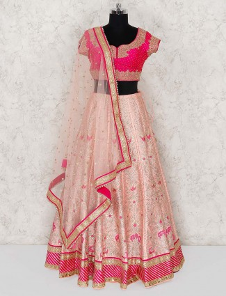 Pink and magenta hue wedding lehenga choli in silk fabric