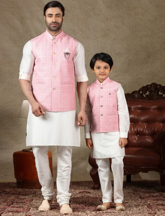 Pink and off white cotton father and son waistcoat set