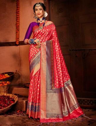 Pink banarasi silk wedding special saree