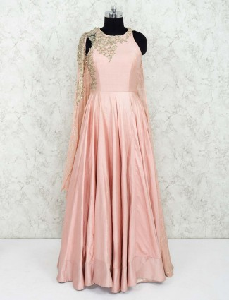 Pink color raw silk pretty gown