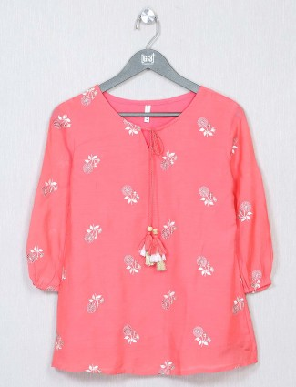 Pink cotton casual wear top for women