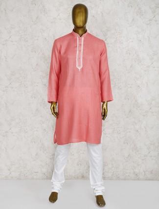 Pink cotton fabric festive function kurta suit