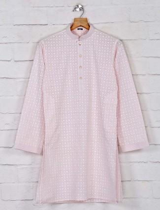 Pink cotton festive days kurta suit