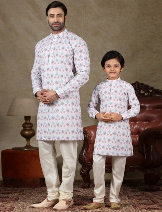 Pink cotton festive wear kurta suit for father and son
