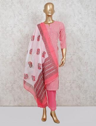Pink cotton festive wear palazzo sets