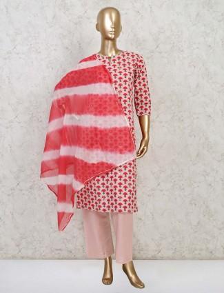 Pink cotton festive wear pant style suit