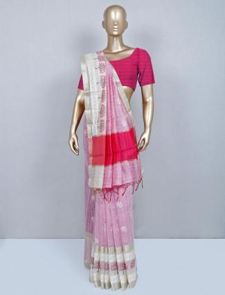 Pink cotton saree wedding wear