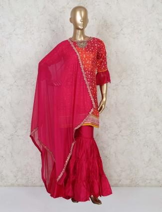 Red and orange cotton sharara kurta suit for festivals