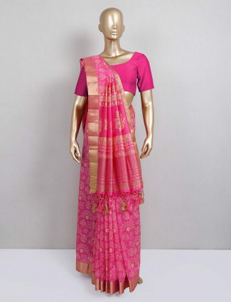 Pink cotton silk printed saree for festival