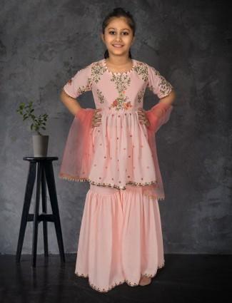 Pink cotton silk punjabi sharara suit for girls