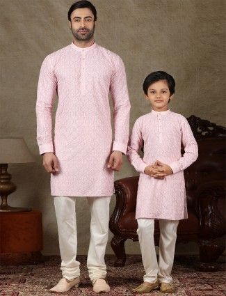Pink cotton stand collar father and son kurta suit