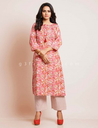 Pink cotton suit in cotton for festive