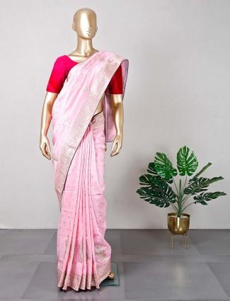 Pink festive wear cotton silk sari