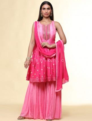 Pink festive wear sharara suit for women