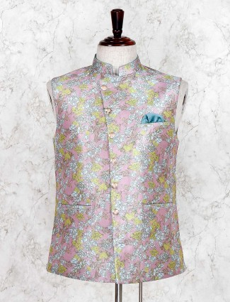 Pink flower printed stand collar waistcoat
