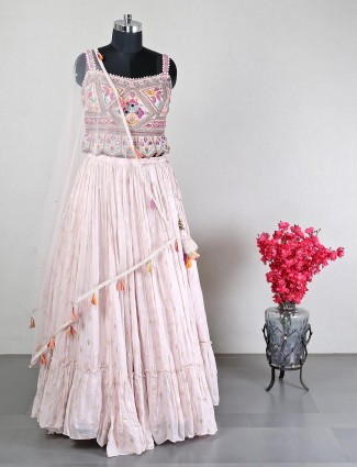 Pink georgette lehenga choli for women