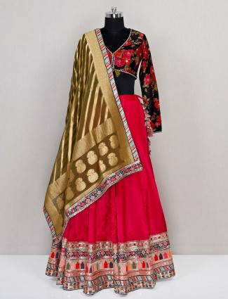 Pink georgette wedding wear designer lehenga choli