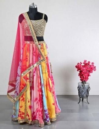 Pink georgette wedding wear lehenga choli for women
