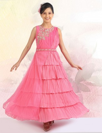 Pink hue georgette fabric party wear gown