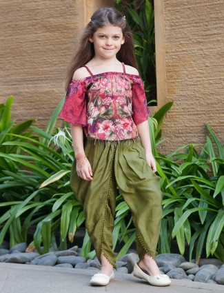 Pink hue printed dhoti suit for festive
