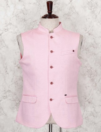 Pink hued terry rayon waistcoat for party