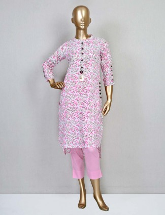 Pink latest cotton casual wear palazzo suit
