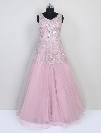 Pink net gown for wedding function