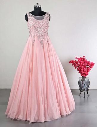 Pink net wedding wear designer gown for women